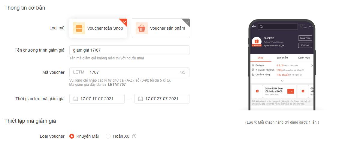 thiết lập thông tin cho mã giảm giá